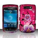 Hard Rubber Feel Design Case for Blackberry Torch 9800 - Hibiscus Flowers