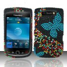 Hard Rhinestone Design Case for Blackberry Torch 9800 - Blue Butterfly