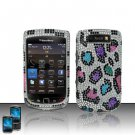 Hard Rhinestone Design Case for Blackberry Torch 9800 - Colorful Leopard