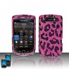 Hard Rhinestone Design Case for Blackberry Torch 9800 - Pink Leopard