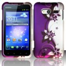 Hard Rubber Feel Design Case for Huawei Activa 4G - Purple Vines