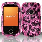 Hard Rhinestone Design Case for Huawei M835 (MetroPCS) - Pink Leopard