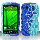 Hard Rhinestone Design Case for Blackberry Torch 9850/9860 - Blue Flowers