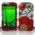 Hard Rhinestone Design Case for Blackberry Torch 9850/9860 - Fall Flowers