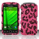 Hard Rhinestone Design Case for Blackberry Torch 9850/9860 - Pink Leopard