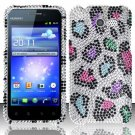 Hard Rhinestone Design Case for Huawei Mercury M886 (Cricket) - Colorful Leopard