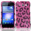 Hard Rhinestone Design Case for Huawei Mercury M886 (Cricket) - Pink Leopard