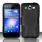 Hybrid Silicone/Plastic Mesh Case for Huawei Mercury M886 (Cricket) - Black