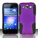 Hybrid Silicone/Plastic Mesh Case for Huawei Mercury M886 (Cricket) - Purple