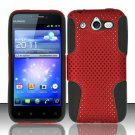 Hybrid Silicone/Plastic Mesh Case for Huawei Mercury M886 (Cricket) - Red