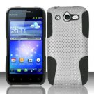 Hybrid Silicone/Plastic Mesh Case for Huawei Mercury M886 (Cricket) - White