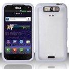 Hybrid TPU/Plastic Transparent Case for LG Viper 4G LTE/Connect 4G (Sprint/MetroPCS) - White