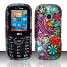 Hard Rubber Feel Design Case for LG Cosmos 2 VN251 (Verizon) - Purple Blue Flowers