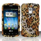 Hard Rhinestone Design Case for LG Enlighten/Optimus Slider - Cheetah