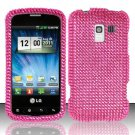 Hard Rhinestone Design Case for LG Enlighten/Optimus Slider - Pink