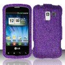 Hard Rhinestone Design Case for LG Enlighten/Optimus Slider - Purple