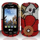 Hard Rhinestone Design Case for LG Extrovert VN271 (Verizon) - Fall Flowers