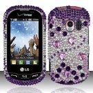 Hard Rhinestone Design Case for LG Extrovert VN271 (Verizon) - Purple Gems