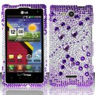 Hard Rhinestone Design Case for LG Lucid VS840 (Verizon) - Purple Gems