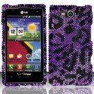 Hard Rhinestone Design Case for LG Lucid VS840 (Verizon) - Purple Cheetah