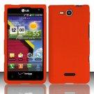 Hard Rubber Feel Plastic Case for LG Lucid VS840 (Verizon) - Orange