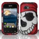 Hard Rhinestone Design Case for LG myTouch Q C800 (T-Mobile) - Pirate Skull