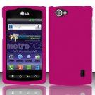 Hard Rubber Feel Plastic Case for LG Optimus M+ MS695 (MetroPCS) - Pink