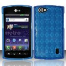 TPU Crystal Gel Case for LG Optimus M+ MS695 (MetroPCS) - Blue