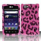 Hard Rhinestone Design Case for LG Optimus M+ MS695 (MetroPCS) - Pink Leopard