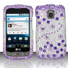 Hard Rhinestone Design Case for LG Optimus T/Phoenix/Thrive (T-Mobile/AT&T) - Purple Gems
