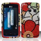 Hard Rhinestone Design Case for LG Rumor Touch/Banter Touch (Sprint/MetroPCS) - Fall Flowers