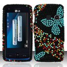Hard Rhinestone Design Case for LG Rumor Touch/Banter Touch (Sprint/MetroPCS) - Blue Butterfly