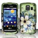 Hard Rubber Feel Design Case for LG Vortex VS660 (Verizon) - Hawaiian Flowers