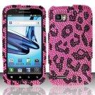 Hard Rhinestone Design Case for Motorola Atrix 2 MB865 (AT&T) - Pink Leopard