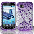 Hard Rhinestone Design Case for Motorola Atrix 2 MB865 (AT&T) - Purple Gems