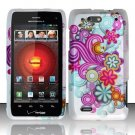 Hard Rubber Feel Design Case for Motorola Droid 4 XT894 (Verizon) - Purple Blue Flowers