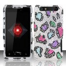 Hard Rhinestone Design Case for Motorola Droid RAZR XT912 (Verizon) - Colorful Leopard