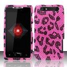 Hard Rhinestone Design Case for Motorola Droid RAZR XT912 (Verizon) - Pink Leopard