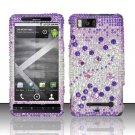 Hard Rhinestone Design Case for Motorola Droid X MB810 (Verizon) - Purple Gems