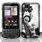 Hard Rubber Feel Design Case for Motorola XPRT MB612 (Sprint) - Black Vines