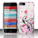 Hard Rubber Feel Design Case for Apple iPhone 5 - Pink Garden