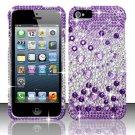 Hard Rhinestone Design Case for Apple iPhone 5 - Purple Gems