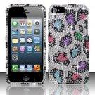 Hard Rhinestone Design Case for Apple iPhone 5 - Colorful Leopard
