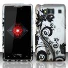 Hard Rubber Feel Design Case for Motorola Droid RAZR HD XT926 (Verizon) - Black Vines