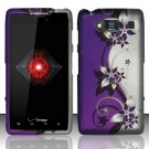 Hard Rubber Feel Design Case for Motorola Droid RAZR HD XT926 (Verizon) - Purple Vines