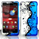 Hard Rubber Feel Design Case for Motorola Droid RAZR M 4G LTE XT907 (Verizon) - Blue Vines