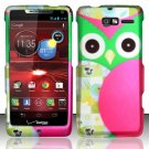 Hard Rubber Feel Design Case for Motorola Droid RAZR M 4G LTE XT907 (Verizon) - Owl