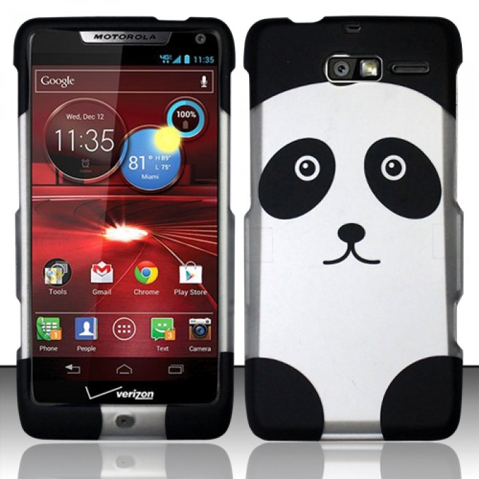 Hard Rubber Feel Design Case for Motorola Droid RAZR M 4G LTE XT907 (Verizon) - Panda Bear