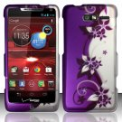 Hard Rubber Feel Design Case for Motorola Droid RAZR M 4G LTE XT907 (Verizon) - Purple Vines