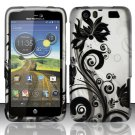 Hard Rubber Feel Design Case for Motorola Atrix HD 4G LTE MB886 (AT&T) - Black Vines